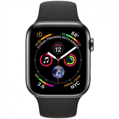 Apple Watch Series 4 (eSIM) 44mm Space Black Stainless Apple Watch Series 4 (GPS + Cellular) 44mm Space Black Stainless Steel Case with Black Sport Band (MTV52)