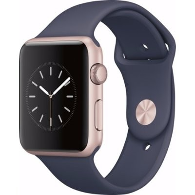 42mm Apple Watch Rose Gold (MNNM2) 42mm Apple Watch Series 1 Rose Gold Aluminum Case with Midnight Blue Sport Band