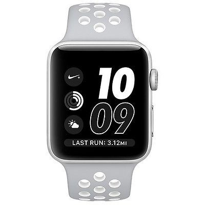 38mm Apple Watch Nike+ Silver (MNNQ2) 38mm Apple Watch Nike+ Silver Case with Flat Silver/White Nike Sport Band  (MNNQ2)