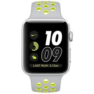 42mm Apple Watch Nike+ Silver (MNYQ2) 42mm Apple Watch Nike+ Silver Case with Flat Silver/Volt Nike Sport Band (MNNT2)